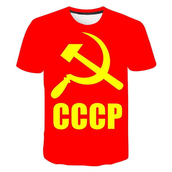 Mens T-Shirt Summer CCCP Russian 3d T Shirts Men USSR Soviet Union Man Short sleeve Tshirt Moscow Mens Tees O Neck Tops S-6XL