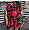 Hip Hop Tank Tops Shirt Hoodie Men Summer Sleeveless Skull Printed Color Block Punk Vest Casual Streetwear