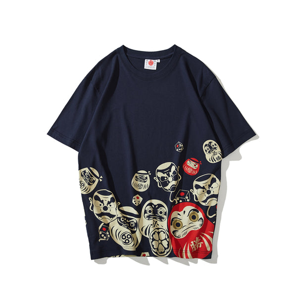 Mascot Damo Egg Print TShirts Japanese Streetwear Style Mens Short Sleeve T-shirts Hip Hop Sure To Win Tees Plus Size