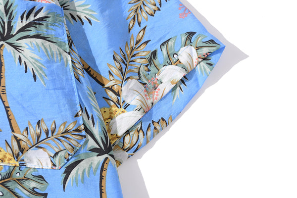 Full Pineapple Coconut Tree Print Yellow Shirt Casual Mens Short Sleeve Fashion Holiday Hawaiian Shirts
