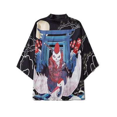 Japanese Style Black Kimono Streetwear Men Women Cardigan Chinese Dragon Robe Female Summer Asian Clothing