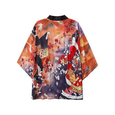 Casual Vintage Pink Women Print Clothes Traditional Kimonos Fashion Men Japanese Asian Style Beach Yukata Clothing