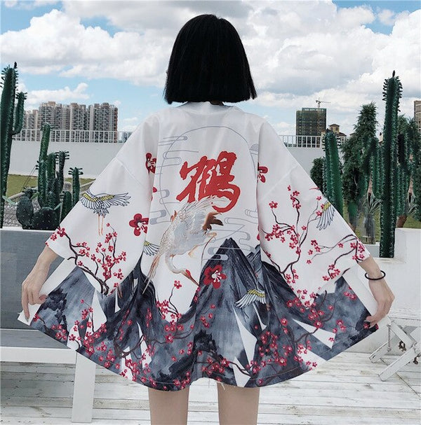 Japanese Style Demon Print Cardigan Kimono Harajuku Anime Women Men Cosplay Yukata Female Streetwear Traditional Haori