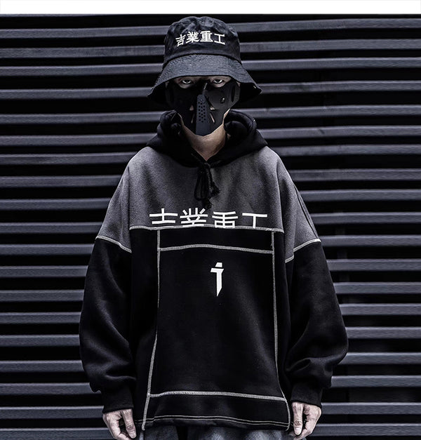 Patchwork Color Block Thick Hooded Sweatshirts Men Harajuku Hip Hop Pullover Casual Cargo Hoodies Streetwear