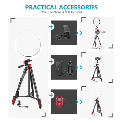 LED Ring Light Selfie Ring Light with Tripod,3 Light Modes Dimmable Ringlight for Live Streaming/YouTube Blogging
