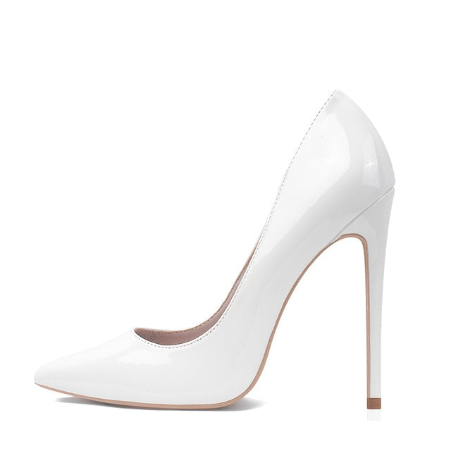 White High Heels Stiletto Pumps Bridal Wedding Shoes Simple Classic Women's SHhoes High-heeled Pumps Shoes Big Size 5-12