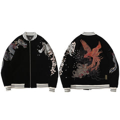 Streetwear Jacket Mens Hip Hop Coat Animals Floral Embroidery Jacket Zipper Cotton Track Jacket Coat Outwear Winter Parkas