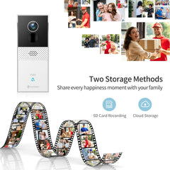 HMBA1MQ Video Doorbell Camera Wireless Chime 1080P Wider View 2-Way Audio Night Vision Waterproof 24/7 Security Cam