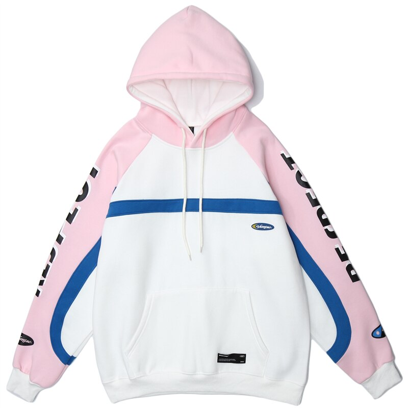Hip Hop Patchwork Hoodie Sweatshirt Mens Harajuku Hoodie Streetwear HipHop Pullover Fleece Winter Autumn Pink Tops
