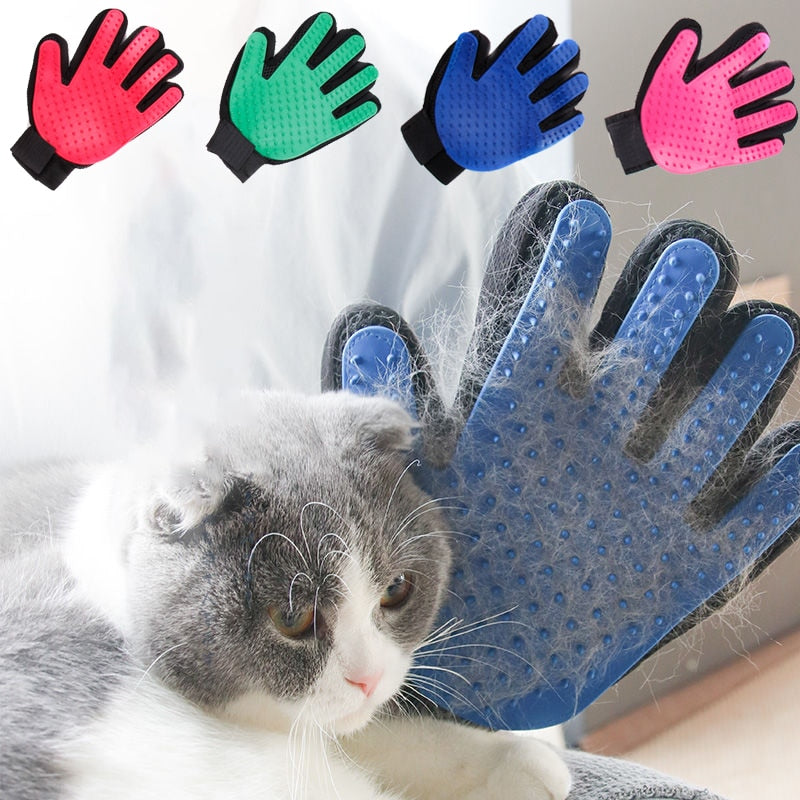 Grooming Glove for Dogs Comb Glove for Pet Cat Finger Cleaning Massage Glove for Animal Grooming Pet Dog Hair Deshedding Brush