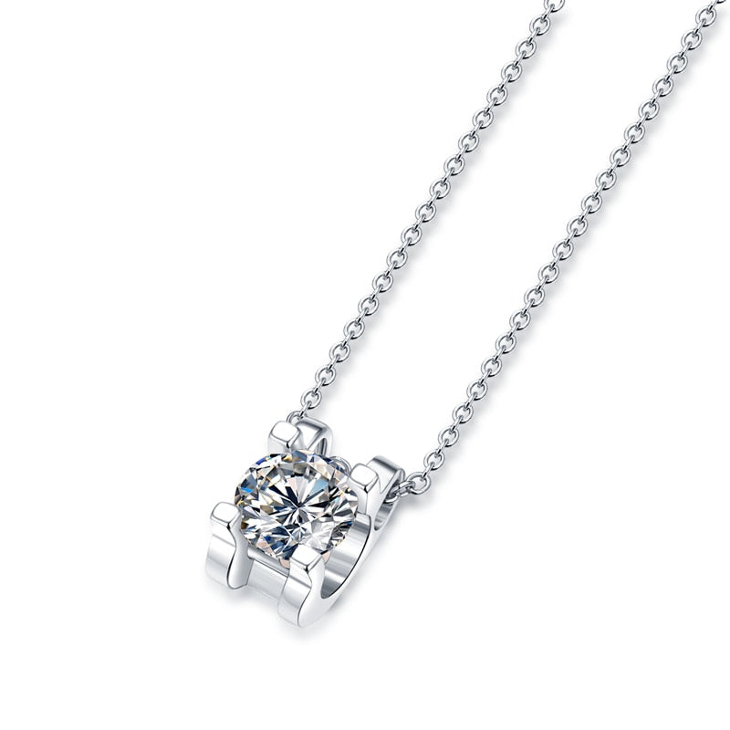 Moissanite Necklace 925 Sterling Silver Jewellery Women Round Shape Jewelry Pendant Moissanite Diamond Necklace