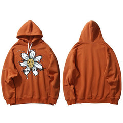 Harajuku Hoodie Sweatshirt Daisy Flower Mens Streetwear Hip Hop Hoodie Pullover Cotton Hooded Sweatshirt Fleece Winter
