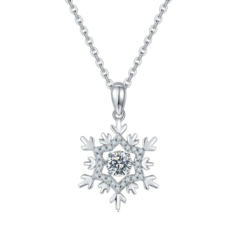 Snowflake Moissanite Diamond Pendant 925 Sterling Silver Jewelry Necklace Women with Twinkle Setting Moissanite