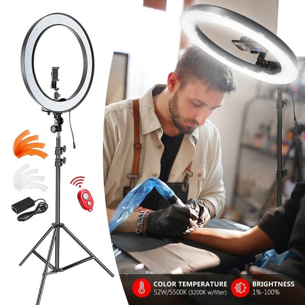 LED Ring Light Upgraded 18-inch Outer Dimmable with Rotatable Phone Holder,Ring Lamp for smartphone Youtube Makeup