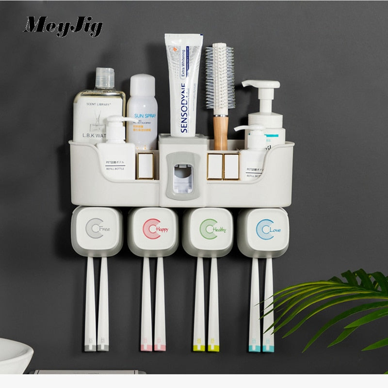 4pcs Multifunctional Toothbrush Holder Bathroom Accessories Set Automatic Toothpaste Dispenser Holder Bathroom Storage