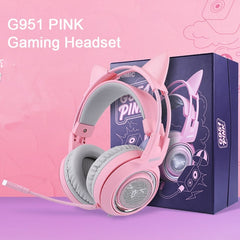 Gaming Headphones USB 3.5mm Virtual 7.1 Noise Cancelling Pink Cat Headset Vibration LED Light for PC Gamer Earphone