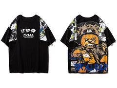 Hip Hop T Shirt Men Harajuku Streetwear Ferocious Bear Print Patchwork Tops Casual Cotton Short Sleeve Tees