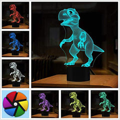 3D Dinosaur Kids LED Lamp Touch Control 7 Colors Night Light Halloween Decor Clear Texture Strong Durable Bright Color