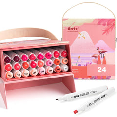 Arrtx ALP Red Tone 24 Colors Alcohol Marker Pen Dual Tips Markers Perfect for Painting Animals, Sunset, Glow Light, etc