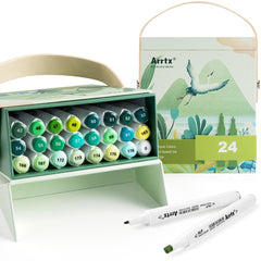 Arrtx ALP Green Tone 24 Colors Alcohol Marker Pen Dual Tips Markers Perfect for Painting Tree, Grass, Leaves, Forest, Plants