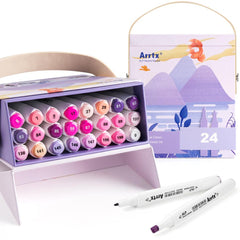 Arrtx ALP Purple Tone 24 Colors Alcohol Marker Pen Set Dual Tips Markers Perfect for Painting Animals, Sunset, Glow Light, etc