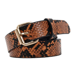 Snake Skin Print Belts For Women Gold Square Pin Buckle Waistband Pu Leather Belt Women Snake Pattern Dress Jeans Leather Belt