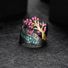 0.28Ct Natural Rhodolite Garnet Ring 925 Sterling Silver Handmade Enamel Craft Tree Buds Ring for Women Bijoux