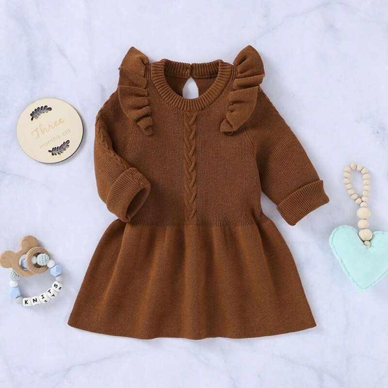 Baby Girls Dress Autumn Casual  Long Sleeve Knitted Tutu Dress Kids Toddler Pageant Sundress Fall