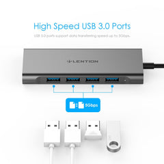 Lention USB-C Multi-Port Hub with 4K HDMI Output, 4 USB 3.0, Type C Charging Adapter for 2020-2016 MacBook Pro13/15/16, Surface