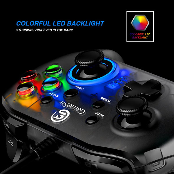 USB Wired Gaming Controller Gamepad with Asymmetric and Vibrating Motor Joystick for Windows 7/8/10 PC