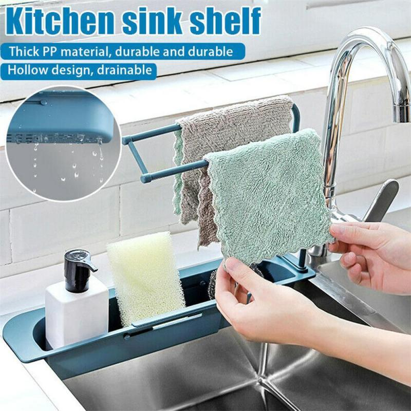 Telescopic Sink Shelf Kitchen Soap Sponge Sink Drain Rack  Sinks Holder Organizer Storage Basket Kitchen Gadgets Accessories