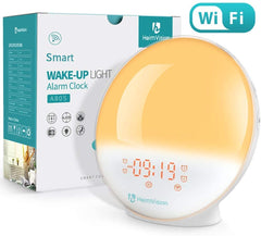 AH80SQ Alarm Clock Wake Up Light Smart Digital Snooze Nature Night Lamp Sunrise Colorful Light Nature Sounds FM Radio