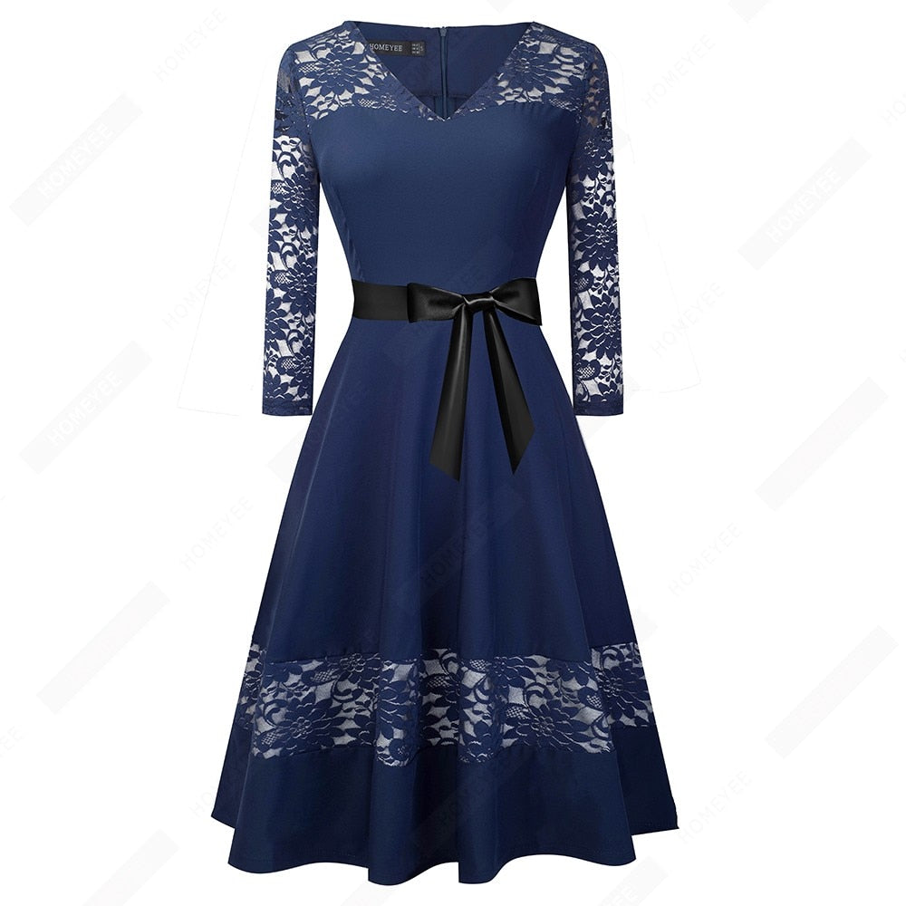 Women Retro Lace Patchwork Vintage Dress Autumn Elegant Bow A-Line Dress