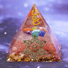 Orgone Pyramid With Smelting Stone Orgonite Reiki Chakra Pyramid Clear White Quartz Copper Orgone Pyramid