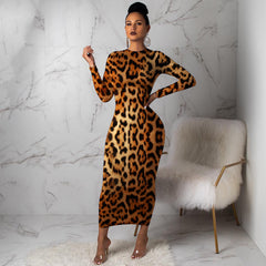 Autumn Winter New Long Sleeve Cheetah Leopard Print Sexy Bodycon Maxi Dress Women Clothes  Fashion Christmas Party BLack Dresses