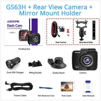 4K 2160P Dual Lens Built in GPS WiFi FHD 1080P Front + VGA Rear Camera Car DVR Recorder GS63H Dash Cam Night Vision