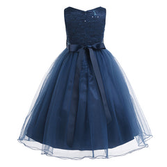 Elegant Sequined Kids Toddler Flower Girls Lace Dress Pageant Wedding Bridal Children Bridesmaid Princess Tulle Dress