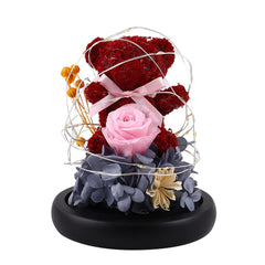 Teddy Bear Rose Flowers In Glass Dome Christmas Festival DIY Cheap Home Wedding Decoration Birthday Valentine's Day Gift D30