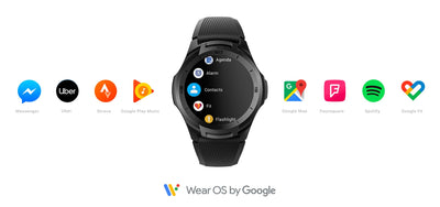 Wear OS by Google Smartwatch Bluetooth GPS Sport Watch for Men 5ATM Waterproof for IOS&Android Long Battery Life