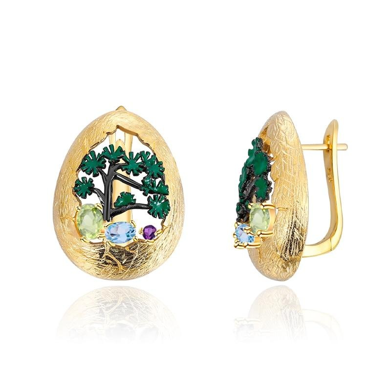 Handmade Enamel Craft Earrings Jewelry Natural Mixed Gemstone Stud Earrings for Women 925 Silver 18k Gold Plated