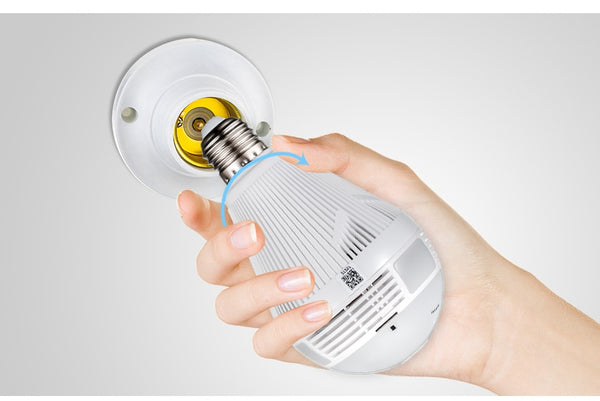 LED Light 960P Wireless Panoramic Home Security WiFi CCTV Fisheye Bulb Lamp IP Camera 360 Degree Home Security Burglar