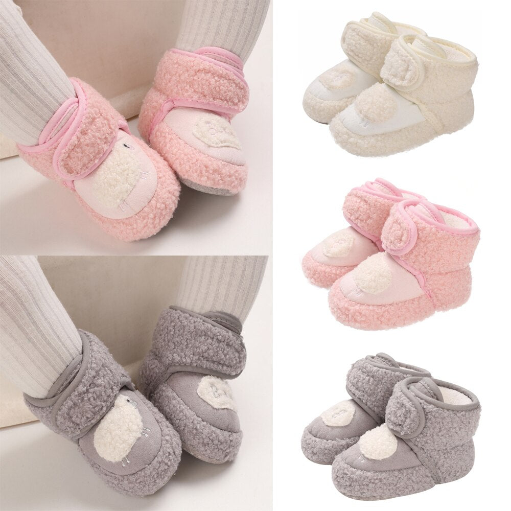 0-1Years Newborn Baby Boy Girls Casual Flat Warm Ankle Shose Winter Fluffy Fur Snow Boots Toddler Baby First Walkers Shoes D30