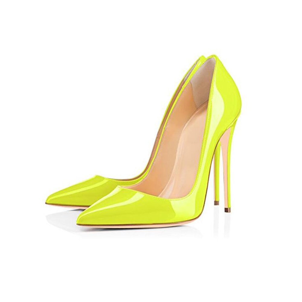 Shoes 10 12CM Heels Women Shoes Pumps Stiletto Neon Yellow Sexy Party High Heels Shoes Big Size 10 11 12