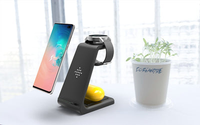 QI 3 In 1 Wireless Charger For Iphone 11/XS/X/Airpods pro/Iwatch 5/4 Fast Charge Wireless Charge Stand For Samsung S10/Bud/Watch