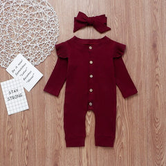 Fall Long Sleeve Kids Girls Jumpsuit for 9-24 Months Autumn knitted Newborn Rompers Toddler Infant Clothing Body for Baby D30