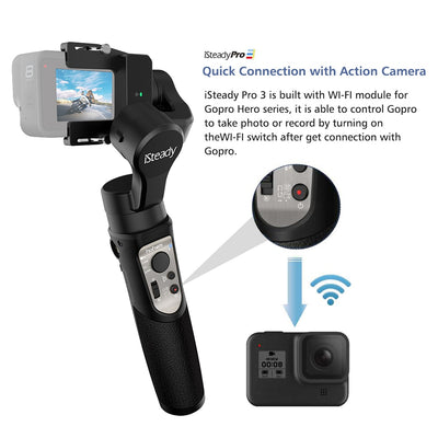 3-Axis Handheld Gimbal Stabilizer for Action Cameras GoPro Hero  DJI OSMO Action Insta360 One R Sony RX0 YI