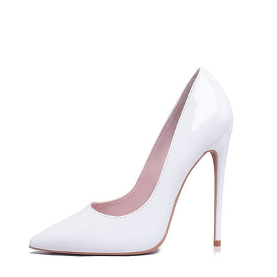 Women Pumps High Heels Shoes 10cm White Shoes for Wedding Lacquer Stiletto Heels High Heeled Shoes for Prom Party Heel Big Size