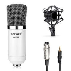NW-700 Microphone Kit:(1)Condenser Microphone+(1)Suspension Scissor Arm Stand+(1)Pop Filter+(1)Shock Mount(White)
