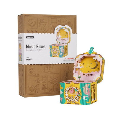 IY 3D Rotatable Dancing Ballerma Wooden Puzzle Game Assembly Music Box Toy Gift for Children Kids Adult