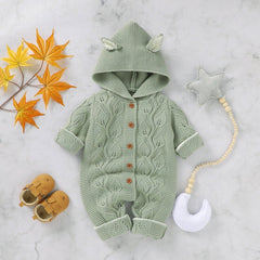 Fall Autumn Infant Baby Girls Long Sleeve Knitted Solid Print Hoodie Rompers Kids Boys Bodysuit Jumpsuit Baby Boy Girl Clothes